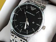 Мужские кварцевые наручные часы Emporio Armani (Армани) металл, серебро, черный циферблат, CW322