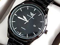 Мужские кварцевые наручные часы Emporio Armani (Армани) металл, черного цвета, CW325