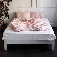 Постельное белье из льна Микс Розовый+Белый