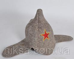 Шапка для бани и сауны войлочная Буденовка серая
