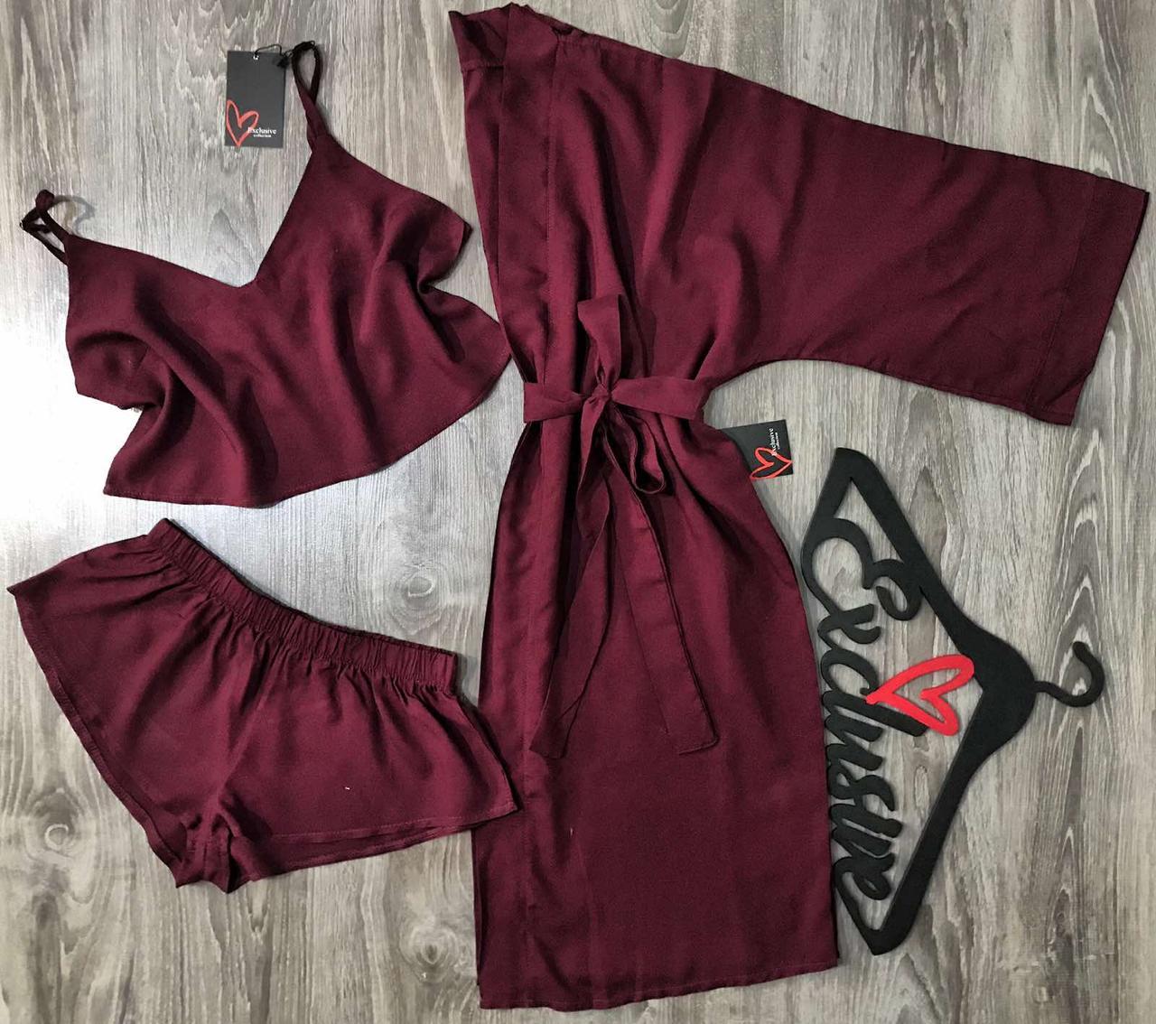 Яркий женский комплект для сна и отдыха, халат и пижама