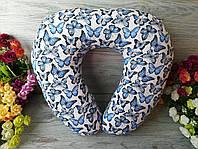 Подушка в дорогу блакитні метелики, 41 см * 34 см