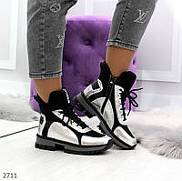 """Женские ботинки зимние ,черные с серебром """"Meiga"""""""