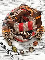 Шарф - бусы (шарф с бусами), Леопард + клетка