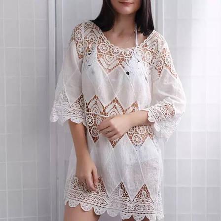 Пляжное платье длинный рукав белая 146-02, фото 2