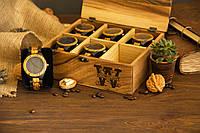Деревянная шкатулка для дорогих швейцарских наручных часов, Органайзер с гравировкой в подарок парню мужу шефу