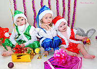 Детский новогодний костюм гномика Желтый, Атлас, Унисекс