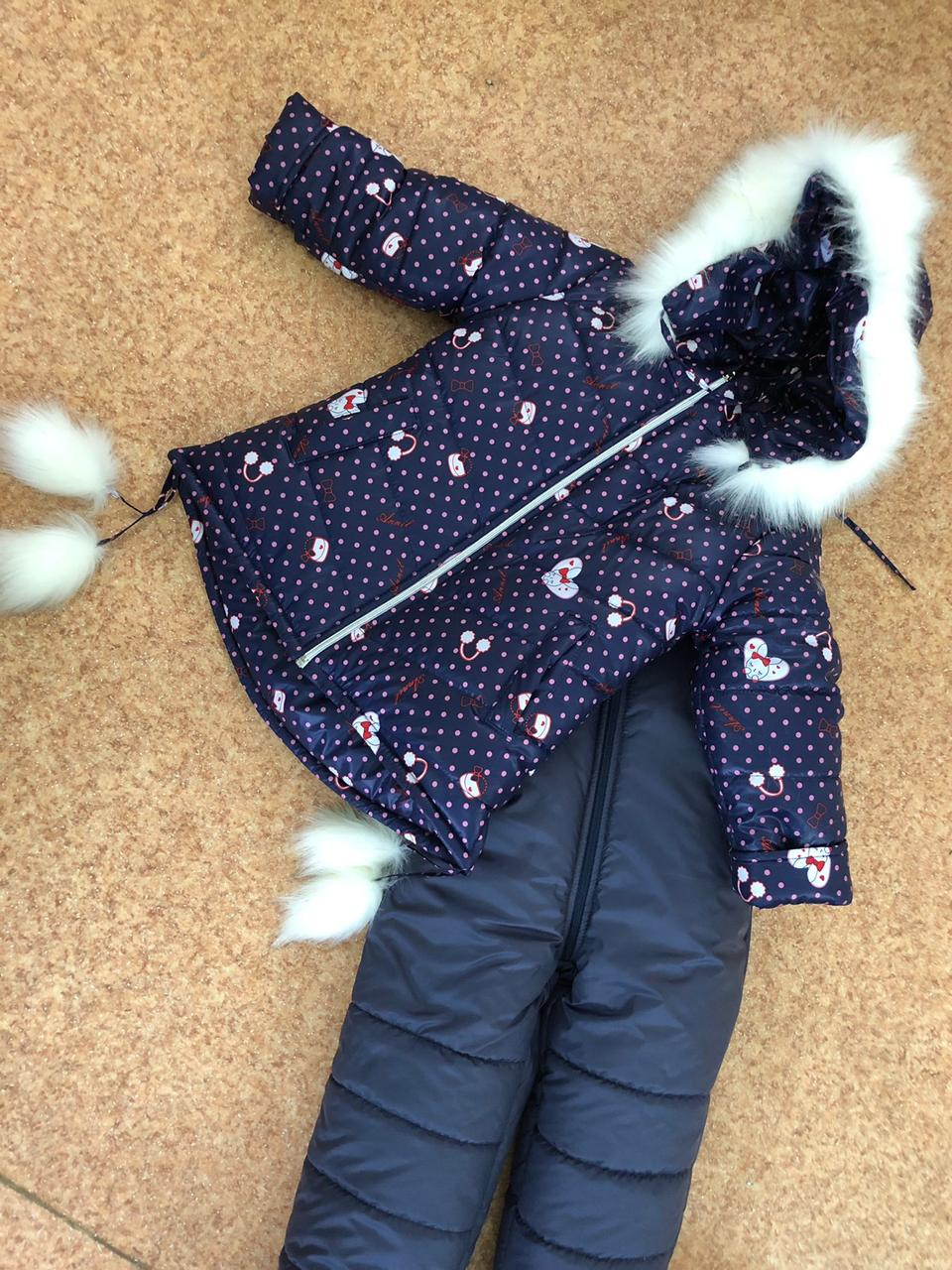 Детский зимний комбинезон для девочки Котики   размеры  92-110