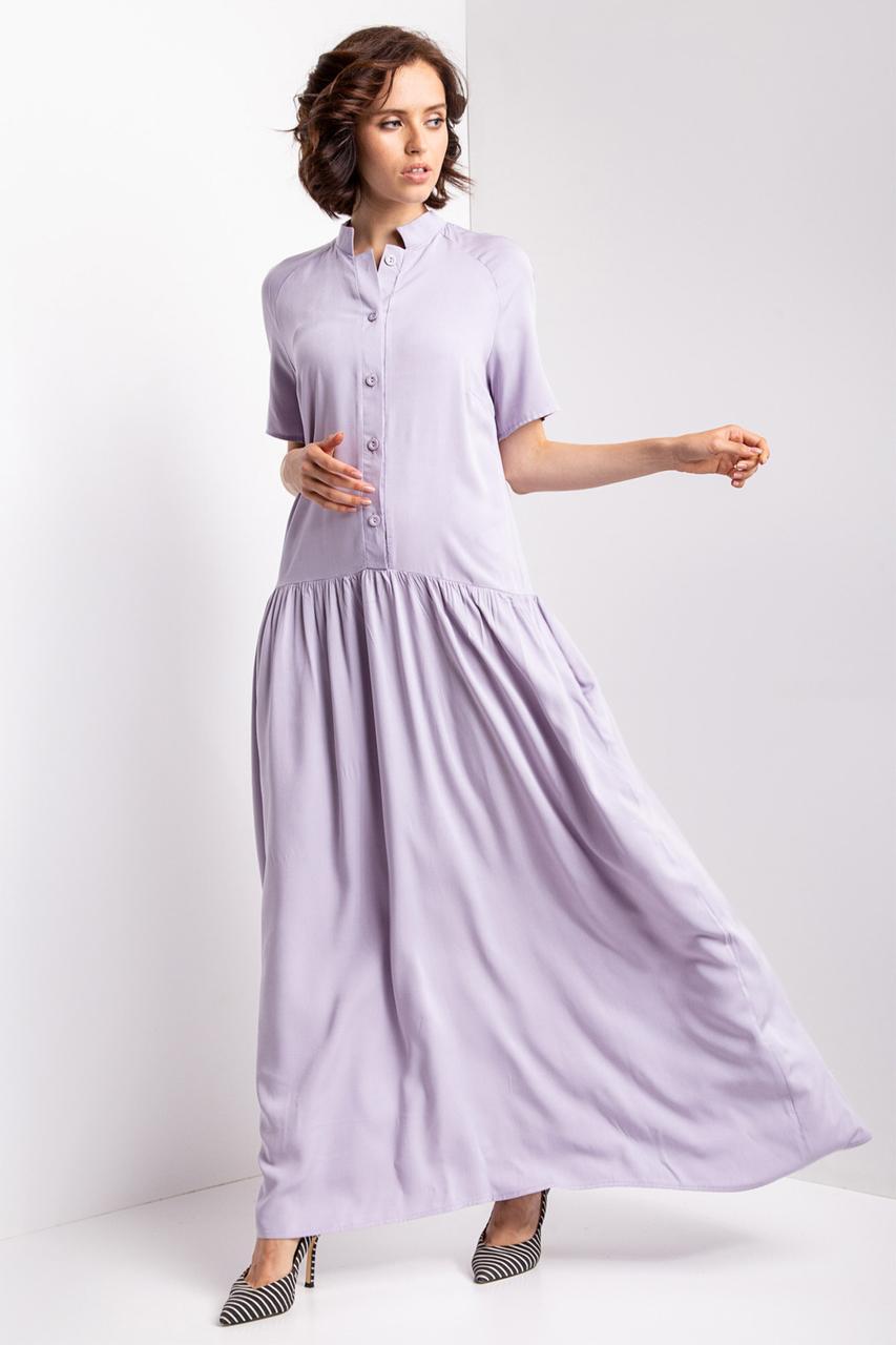 Серое платье-рубашка briena длиной макси с короткими рукавами, воротником-стойкой и широкой юбкой