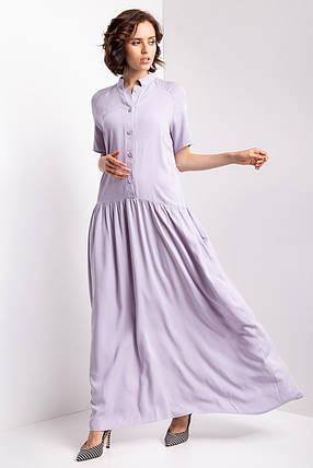 Серое платье-рубашка briena длиной макси с короткими рукавами, воротником-стойкой и широкой юбкой, фото 2