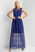 Прозрачное вечернее платье vlasta в пол синего цвета с вышивкой и пайетками