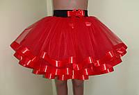 Детская пышная юбка из фатина, на резинке, красная
