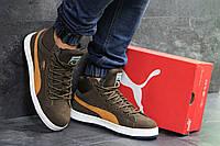 Мужские зимние кроссовки на меху Puma Suede, коричневые