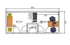 Мобильный офис (6 х 2.4 м.), 2 комнаты с тамбуром, на основе цельно-сварного металлокаркаса., фото 3