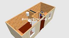 Мобильный офис (6 х 2.4 м.), 2 комнаты с тамбуром, на основе цельно-сварного металлокаркаса., фото 2