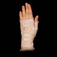 """Розовые перчатки-митенки """"Розочки"""" короткие, гипюровые"""