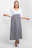 Длинное льняное платье letti оверсайз в черно-белую клетку