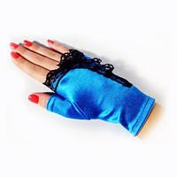 Голубые перчатки-митенки с чёрной рюшей атласные короткие без пальчиков