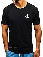 Мужская футболка Calvin Klein (Кельвин Кляйн) черная (маленькая эмблема) хлопок