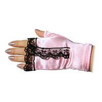 Розовые перчатки-митенки с чёрной рюшей атласные короткие без пальчиков