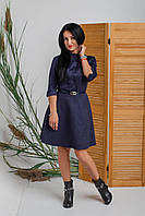 Темно-синее платье из замша с накладными карманами на груди