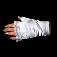 Белые перчатки-митенки атласные короткие без пальчиков