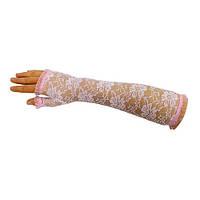 """Розовые гипюровые перчатки (митенки) """"Розочки"""" длинные без пальцев."""