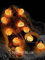 Декор на Хэллоуин: Гирлянда из тыкв на батарейках. 1 м -10 тыкв, фото 1