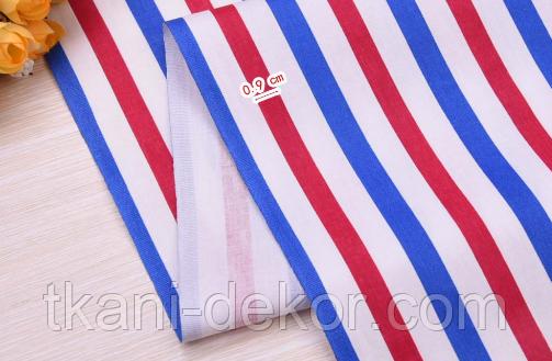 Сатин (хлопковая ткань) полоска красная и синяя