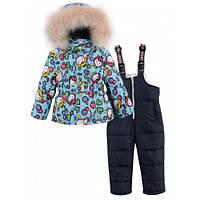 Теплый зимний костюм комбинезон на синтепоне и меху для девочки 92-110р