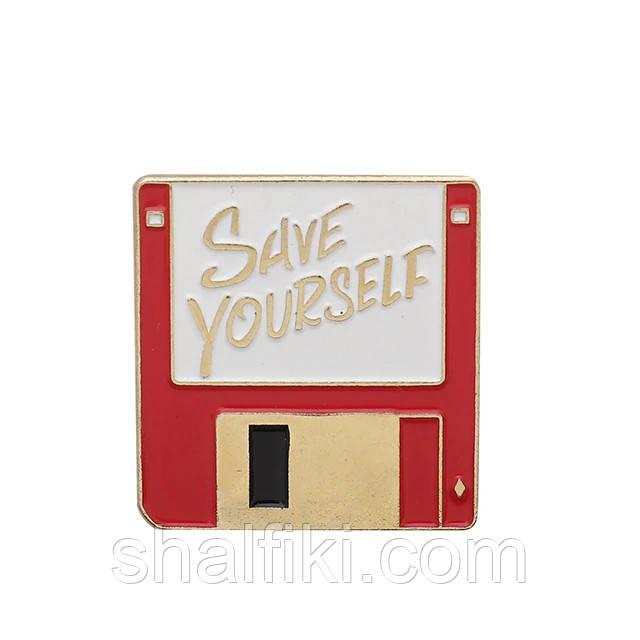 """""""Дискета компьютерная красная Save Yourself"""" значок (пин) металлический"""