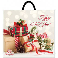 Новогодний пакет с петлевой ручкой Подарки 380*340, 10 шт