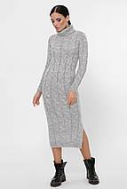 Удобное теплое платье ниже колен крупной вязки цвет джинсовый синий, фото 2