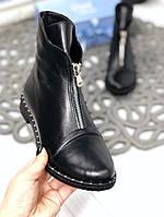 40 р. Ботинки женские деми черные кожаные на низком ходу, демисезонные, из натуральной кожи, натуральная кожа