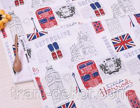 Сатин (хлопковая ткань) Лондон город,троллейбус, светофоры