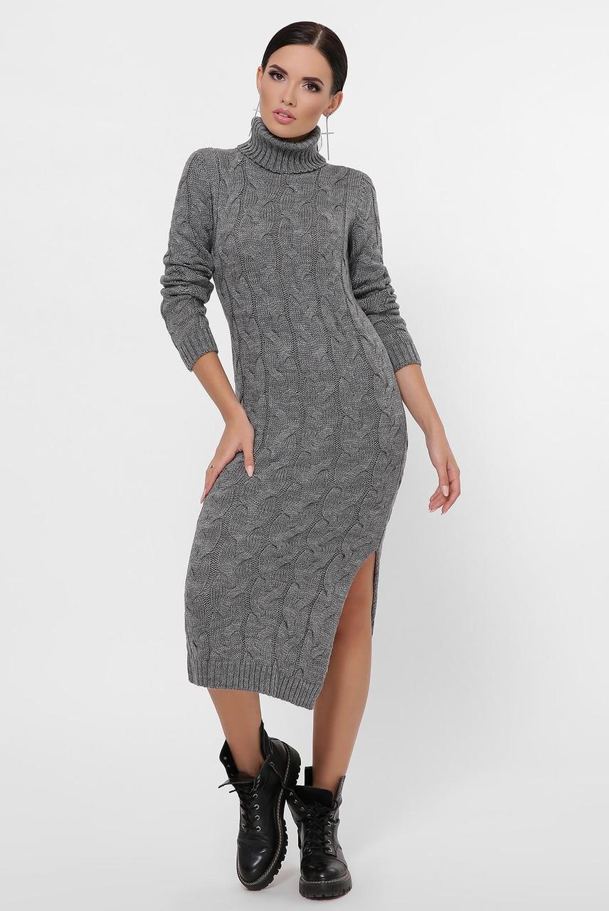 Платье макси на зиму вязаное с небольшим разрезом сбоку цвет графит