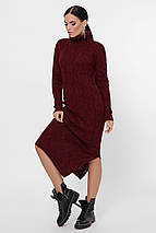 Платье макси на зиму вязаное с небольшим разрезом сбоку цвет графит, фото 3
