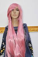 Искусственный парик имитация натуральных волос длинные розовые волосы с челкой