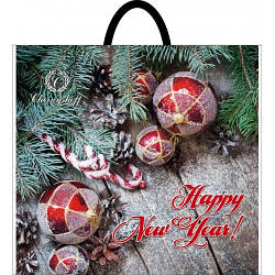 Новогодний пакет с петлевой ручкой Ель 380*340, 10 шт