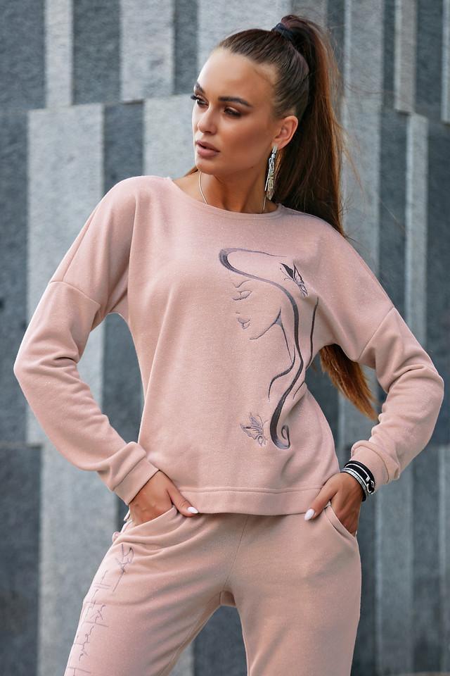 Жіночий прогулянковий спортивний костюм, трехнитка з люрексом, персиковий