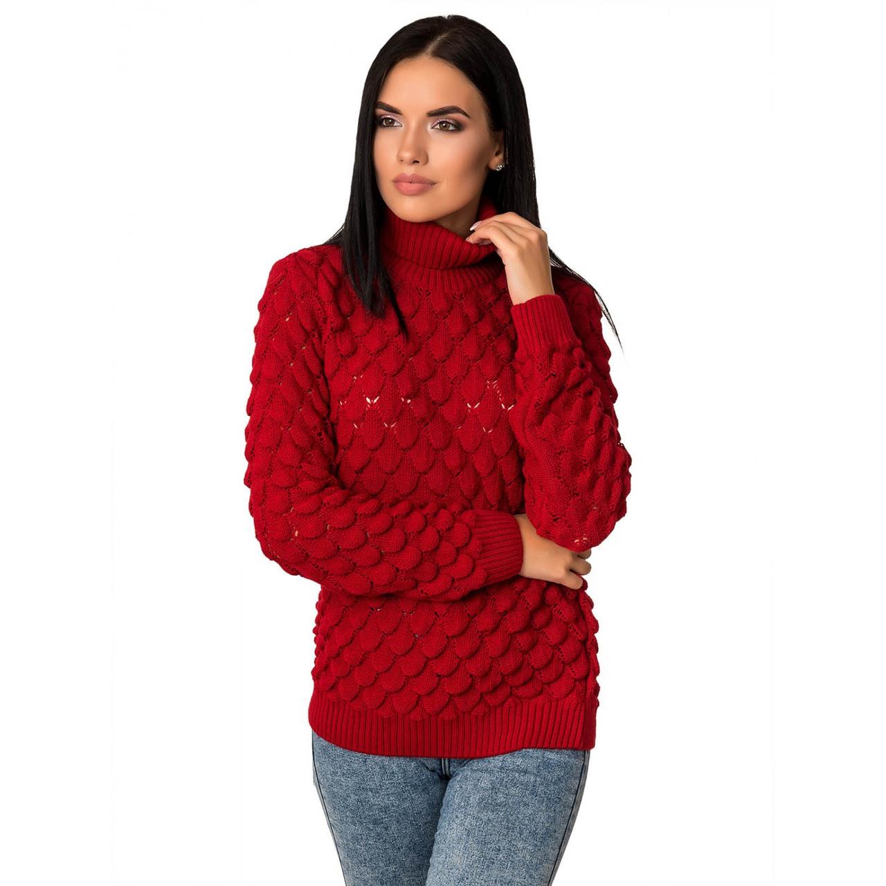 Женский зимний свитер теплый Жакк-3 под горло Шерсть-Акрил