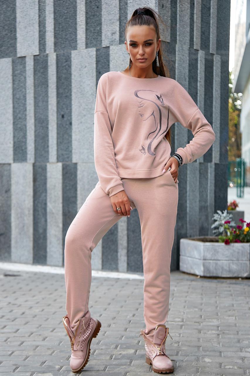 Персиковий костюм спортивний прогулянковий жіночий тринитка з люрексом
