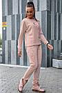 Персиковий костюм спортивний прогулянковий жіночий тринитка з люрексом, фото 5