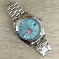 Часы женские Rolex Day-Date механические серебристые с голубым циферблатом