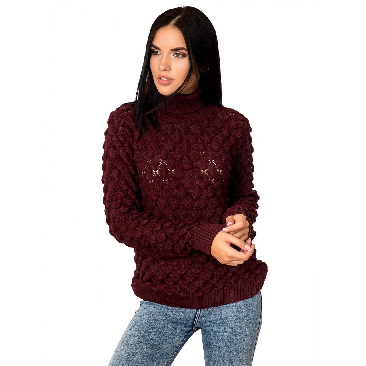 Женский зимний свитер теплый Жакк-5 под горло Шерсть-Акрил