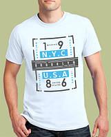 0032-TSRA-150 WH Мужская футболка «BROOKLYN N.Y.C 86», белая.