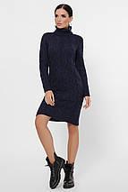 Зимнее теплое платье длина миди  цвет свело-серый, фото 2