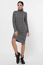Зимнее теплое платье длина миди  цвет свело-серый, фото 3