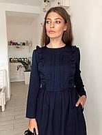 Платье женское модное с оборками и пышной юбкой миди разные цвета Sml3756