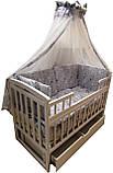 """Комплект """"Карапуз с комодом 3+2 белый"""". Комод + кроватка маятник Карапуз белая +матрас кокос+постель, фото 6"""